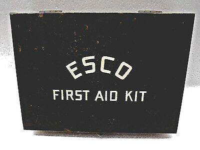 Vintage ESCO Green Metal First Aid Kit with Red Cross Bandages, Rexall BAYER Etc