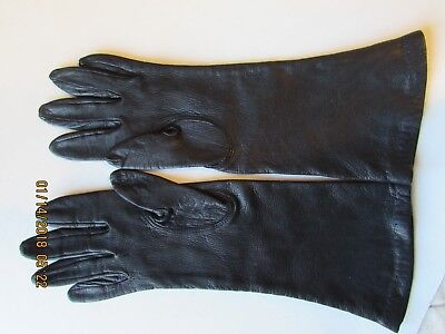 """Vintage 12"""" Brown Kid Leather Gloves silk lined 6 1/2 thy are so soft Lamb?"""
