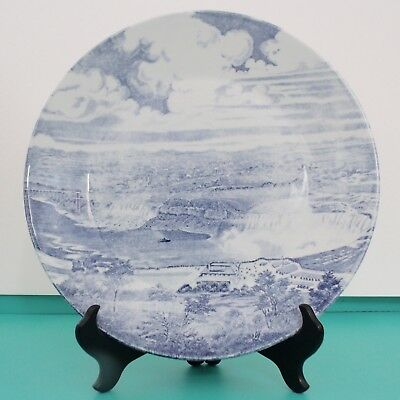 """VINTAGE NIAGRA FALLS Blue White Collectible Plate 10"""" J & G MEAKIN England"""