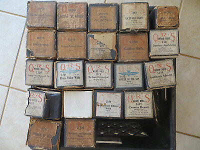LOT OF 25 ANTIQUE QRS PLAYER PIANO ROLLS EARLY 1900s GOOD PLAYABLE CONDITION