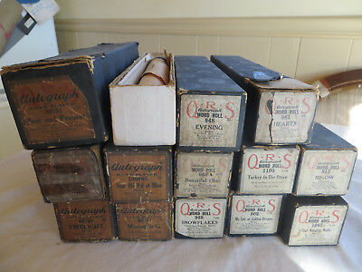 LOT OF 13 ANTIQUE QRS AUTOGRAPH PLAYER PIANO ROLLS EARLY 1900s GOOD CONDITION