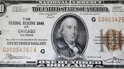 Series 1929 National Currency Chicago FRN $100 Note Great
