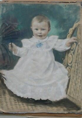 ***RARE*** Antique1800's Pastel Portrait on Zinc Or Lead  Approx. 20 x 16