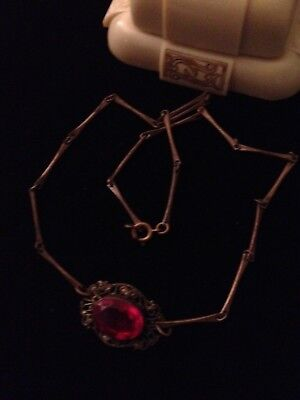 """VINTAGE ART DECO RED GLASS FILIGREE ANTIQUE BRASS NECKLACE APPROX. 1930""""s"""