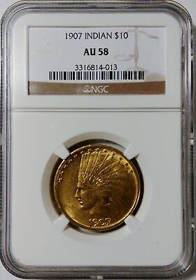 1907 High Relief $10 Gold Indian Eagle Ngc Au-58 Rare Date