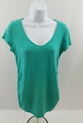Old Navy Womens Maternity Top Short Sleeve Tee Sz S/P Turquoise Ruched Sides