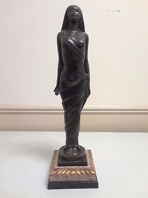 Antique Art Deco Bronze Female Statue with Marble Base c. Early 1900's -  WH015