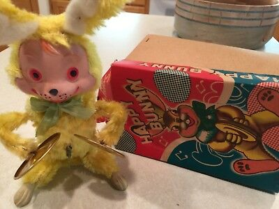 Mechanical Happy Bunny, Vintage 1950 Rock Valley Toy w/clapping symbols JAPAN
