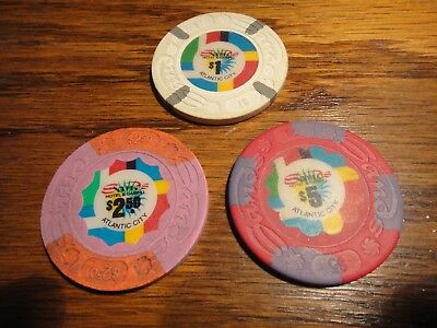 3 Sands Atlantic City $1, $2.50, & $5 Casino Chips  1St Issue