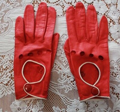 Ladies Vintage 1930s Italian Red Leather Driving Gloves Made in Italy