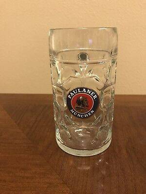 Paulaner munchen Beer Mug 32 oz/ Collectible Dimpled Glass