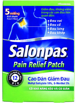 New Improved Salonpas Pain Relieving Patch Hisamitsu 5 Patches X-Large Size