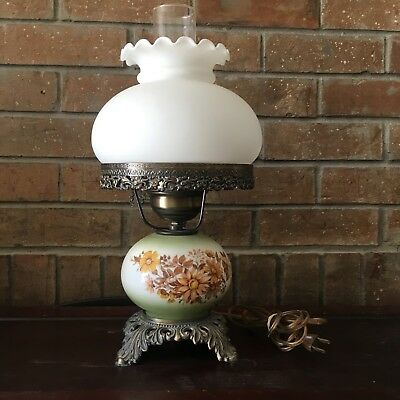 Antique Style Floral Hurricane Table Lamp Brass Finish