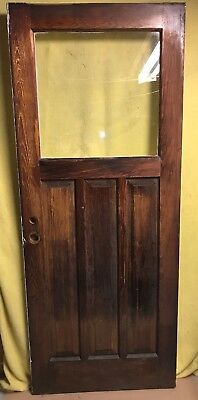 UNIQUE ANTIQUE Craftsman WOOD DOOR EXTERIOR /w GLASS 32x79 ARCHITECTURAL SALVAGE