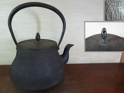 Japanese Antique KANJI old Iron Tea Kettle Tetsubin teapot Chagama 2154