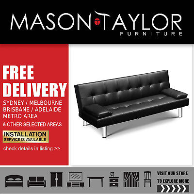 Mason Taylor 3-seater PU Leather Sofa Bed Black Living Room Couch AU