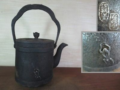 Japanese Antique KANJI old Iron Tea Kettle Tetsubin teapot Chagama 2157