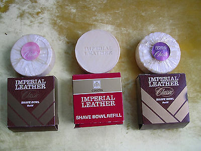3 Vintage Boxed  Imperial Leather Shave Bowl Soap Refills - 2 Classic & 1 Red