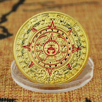 Gold Plated Mayan Aztec Prophecy Gold Calendar Commemorative Coin Art Collection
