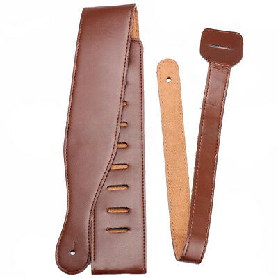 Brown Adjustable Soft PU Thick Strap for Electric Acoustic Guitar Bass P8L6