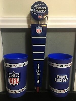 Bud Light Football NFL Tap Handle - 2 Plactic Reusable Nfl Football Cups !!!!