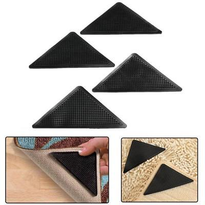 4pcs Sticky Rug Carpet Mat Grippers Non Slip Grip Corners Anti Skid Rubber Home