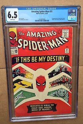 Amazing Spiderman 31 CGC 6.5 F+ WHITE pages! 1st Gwen Stacy + Harry Osborn