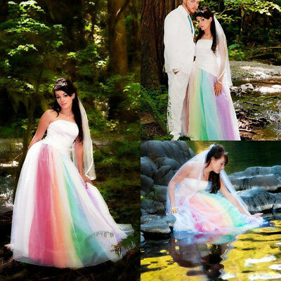 Rainbow Colored Wedding Dresses Strapless Outdoor Country Bridal Gowns Ball Gown
