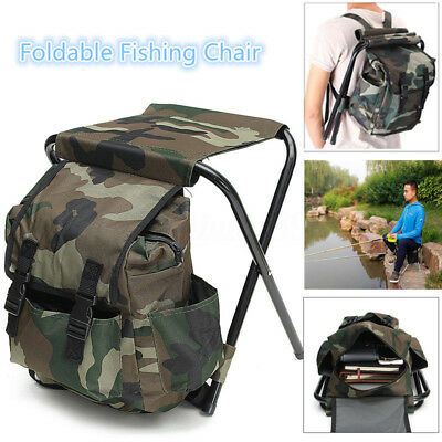 1x Foldable Fishing Chair Stool Travel Camping Hiking Multi-Function Bag Outdoor