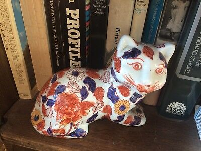 Antique Japanese Imari Enamel Porcelain Animal Figure Sitting Cat
