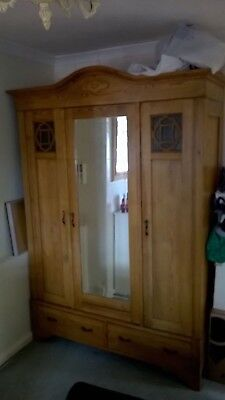 Early 20th century, large knock down, solid pine wardrobe