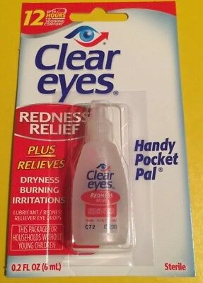 3 Packof Clear Eyes  Drops Redness Relief 0.2 Oz.6 Ml Exp( 2018 )Up To 12 Hours