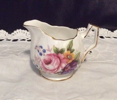 Aynsley Creamer Fine Bone China Bluebells Peonies Gold Gilt Made In England