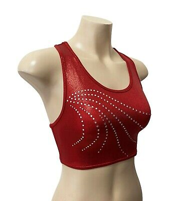 NEW RED SHINY CROP TOP Adult S Girls 14 Gymnastics Dance Quality Unitard Leotard
