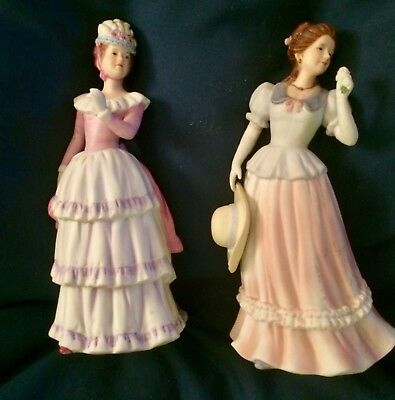 Two Porcelain Turn Of The Century Lady Figurines By Homco
