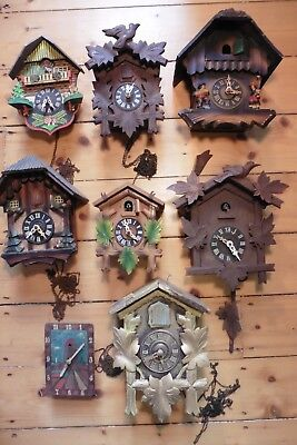 Vintage 8 x Black Forest Cuckoo Clocks for parts or repair