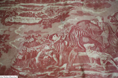 Antique French linen PADDED chair PILLOW TOILE DE JOUY MADDER c1880