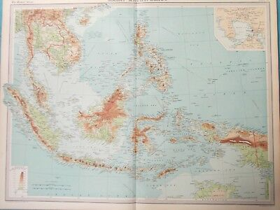 Map of Malay Archipelago. 1922. BORNEO. JAVA. PHILIPPINES. ASIA  Original