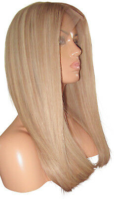 "Remy Human Hair Wig Full Lace 18"" Long Dark Ash Blonde Highlights 9 60 Large 150"