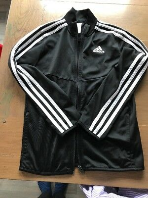 Adidas Kids Zipper jacket 9-10Y Black With Classic 3 Stripes