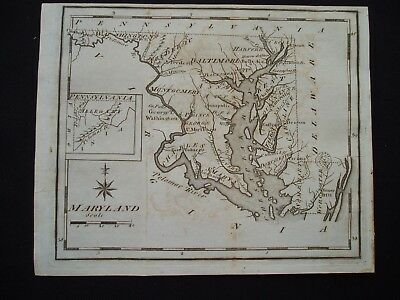 1795 Scott Colonial Map Maryland 222 Yr Old Rare Antique Genuine