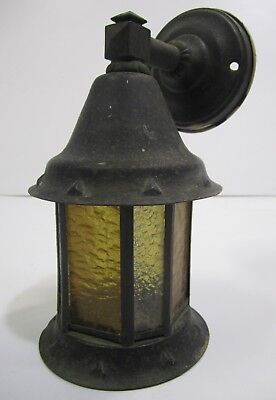 Vtg Porch Light Sconce Arts & Crafts Tudor Bungalow Yellow Clear Glass Panel