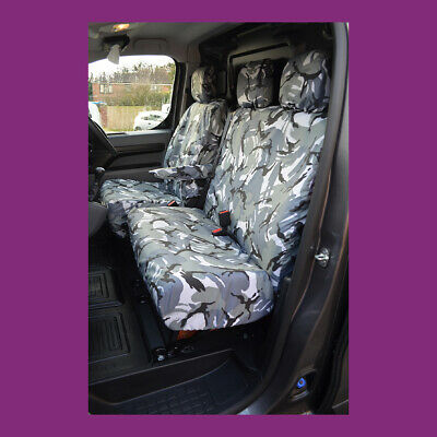 Citroen Dispatch 2016+ Front Tailored Grey Camo Seat Covers NO Fold Down Tray