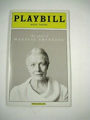 Year Magical Thinking Playbill 2007 Booth Theatre Ticket Vanessa Redgrave