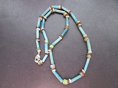 NILE  Ancient Egyptian Mosaic Bead Amulet Mummy Bead Necklace ca 600 BC