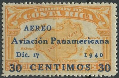 Costa Rica 1940 MLH Airmail Stamp | Scott #C56 | Cocos Island Overprint Pan-Am