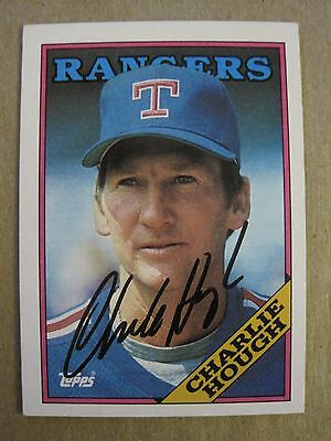 CHARLIE HOUGH autographed baseball card, Texas Rangers signed 1988 Topps auto