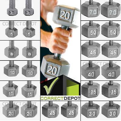 SET OF 2 CAST IRON HEX DUMBBELLS Home Fitness Gym Barbell Workout Weight PAIR