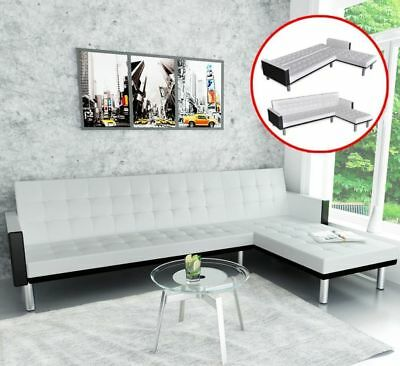 WHITE LEATHER SECTIONAL Sofa 5 Seater L Shaped Modern Living Room ...