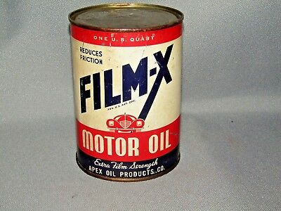 Film-X Quart Oil Can Tin Apex Oil Products Co. NICE GRAPHICS